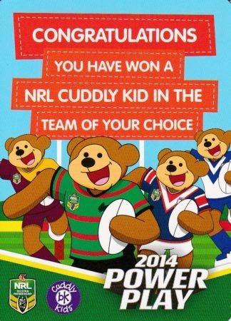 2014 NRL Power Play Beanie Kids Redemption Card