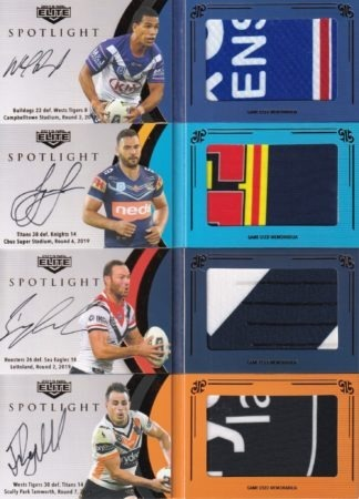 2019 NRL Elite Spotlight Jersey Patch Signatures